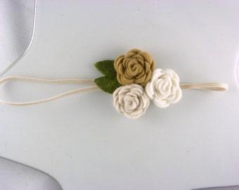 wool felt flower headband three rose cluster neutrals - newborn headband - infant baby girl headband - photo prop