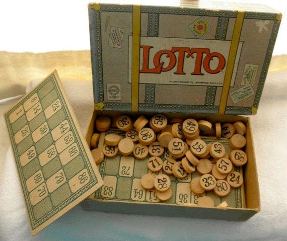 Vintage 1920's Lotto Board