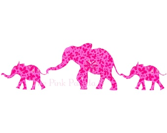 Pink Chinoiserie Floral Elephant Mom with Babies Giclee 13x19