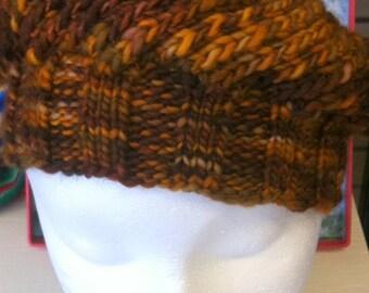 Knit Beret Cap Brown Orange Wool Holiday Gift