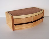 wood jewelry box retro style two drawer rounded front keepsake box trinket box