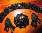 MINT Exceptional Weiss Signed Parure: Bracelet, DANGLING/Drop Earrings, Domed Brooch - Jet BLACK Austrian Crystal Rhinestones