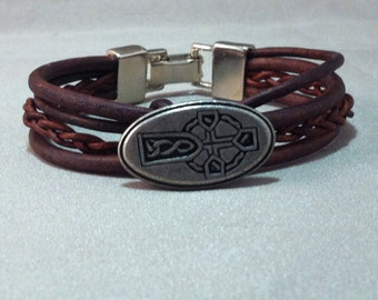 Celtic Cross Leather Bracelet On SALE, Celtic Bracelet, Pewter Celtic Cross Bracelet