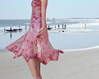 women summer holiday dresses/ tie dye tie colorful prom dresses/Ethnic batik dress/ prom dresses