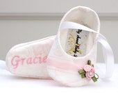 Wedding Baby Shoes, Beautiful Flower Accent, White and Pink, FREE Personalization, personalized baby girl shoes