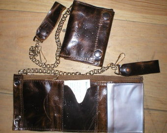 Handmade USA Leather Trifold Snap Flap Wallet with Belt Chain Black Brown Tan...etc