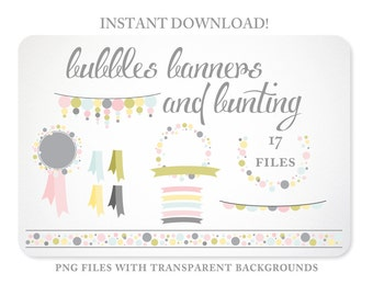 Bunting, Banners & Bubbles Design Elements in Pastel colors - Instant Download