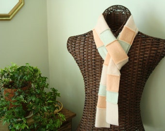 NECTARINE & MINT Scarf / Peach Cashmere Patchwork Scarf  Eco Fashion Scarf by WormeWoole
