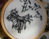 Hand Embroidered Stitched Illustration dandelion head hoop art .