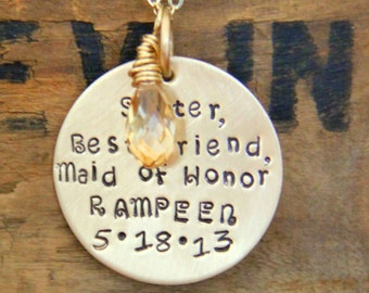 Gold Maid Of Honor Bridesmaid Necklace, Gift For Sister Best  Friend, Wedding Necklace, Gold Pendant, Sister, Best Friend, Maid of Honor