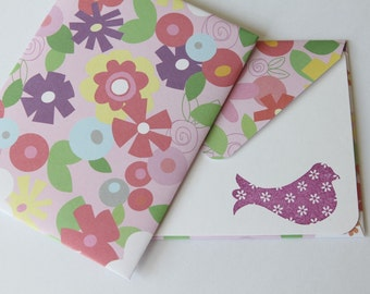 SALE Set of 2 Stationery - Plum Purple Bird with Colorful Flowers - Spring Bird
