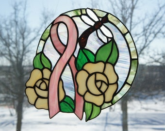 Pink Ribbon with Yellow Roses Suncatcher