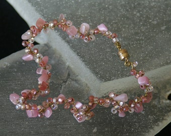 Crocheted Pink Bead Anklet