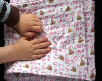 Pink I luv G'ma and G'pa Flannel Baby Blanket