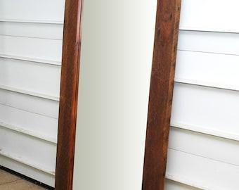 Reclaimed wood floor mirror, wardrobe mirror