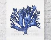 Sea Coral in Denim Watercolor Print 8x10 - Blue Coral Print - Blue Seaweed Print - Marine Life Print