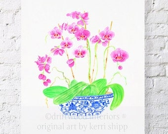 Pink Orchids in Vintage Blue and White China 8x10 - Blue and White Chinoiserie Print - Pink Floral Watercolor Print