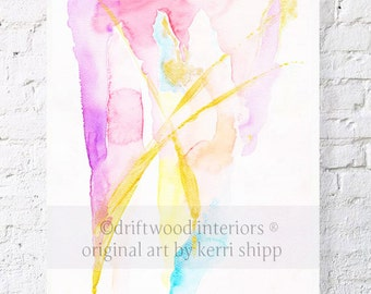 """Abstract Watercolor Print in Pink & Gold - """"All that Glitters"""" 11 x 14 - Abstract Art Print - Watercolor Abstract - Modern Abstract Art"""