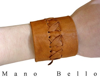 LEATHER CUFF MENS Laced Leather Cuff Tobacco Brown Wide Tan Leather Bracelet Hand Made Leather Cuff Contemporary Fashion