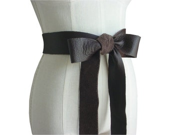 2 Inch Leather Bow Belt Double Wrap Chocolate Brown Obi Belt 2 in 1, Small/ Medium