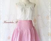 Pretty Season - Mini Skirt Powder Pink With White Polka Dots Print XS-S
