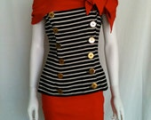 Vintage Black and White Striped REd Nautical Inspired Dress - Circa 1980s - Red Hot - Classic