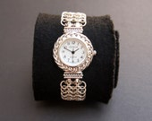 Watch with sterling silver chunky chainmaille cuff/bracelet.