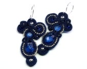 in the middle of the night - silver and navy blue -  soutache earrings  free shipping