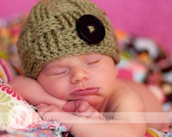 Basket Weave Button Beanie Newborn Photo Prop