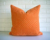 Pumpkin Orange Velvet Throw Pillow Cover Geometric - Vintage Modern Eclectic - Art Deco - Glam Decor