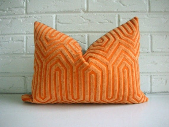 Decorative Throw Pillow Cover - Small Lumbar - Orange Velvet Geometric Pattern - Mid Century Art Deco Modern