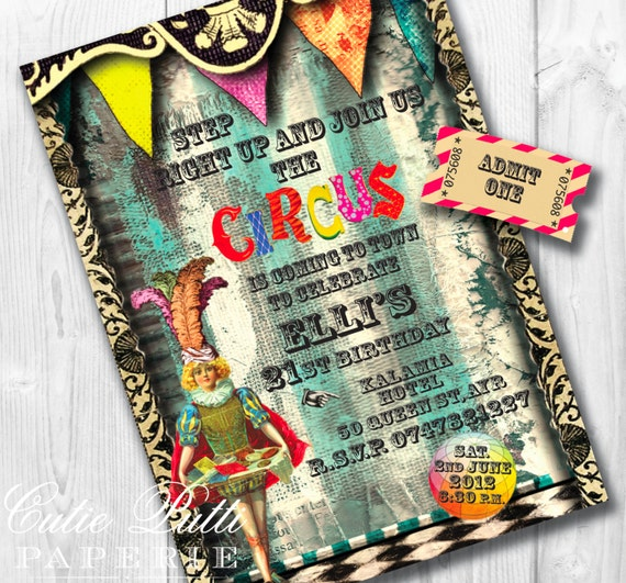 Circus Party Colorful Invitations, Printable Custom Invitations by Cutie Putti Paperie