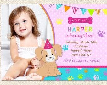 Dog Puppy Birthday Invitations