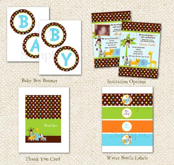 Elegant Safari Baby Shower: Safari Jungle Baby Shower DIY Printable Personalized