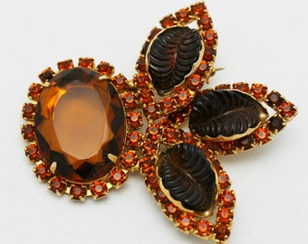 Vintage Brooch Signed Cathe Dark Amber Color
