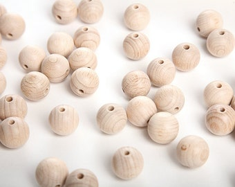 100 wooden round natural burch wood beads balls for jewelry toys decoration necklase making 18mm or 20mm nature friendly - size mix & match