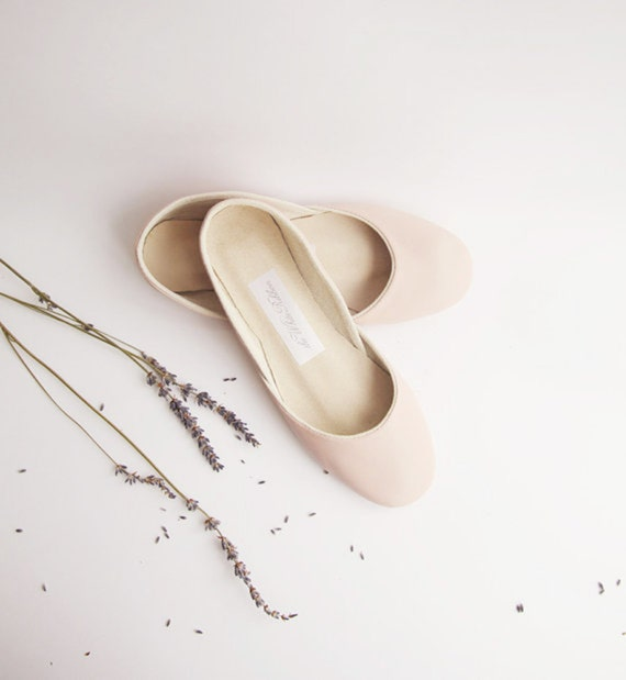handmade leather ballet flats | blush | made to order