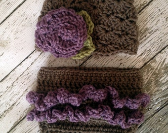 Vintage Inspired Flower Beanie and Ruffle Diaper Cover in Taupe and Dusty Purple Available in Newborn to 12 Months Size- MADE TO ORDER