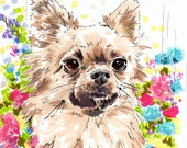 Custom Dog Portrait - Custom Pet Portrait with Coloured Background and Pattern 8 x 11 inches on Fine Art Paper
