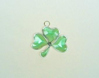 "Irish Celtic Green Beveled Stained Glass Shamroc, Suncatcher, 3 X 2"" St. Patrick's Day Decoration"