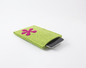iPhone, Droid, etc. Sleeve - 100% Merino wool- Kiwi with flower color of choice - Portrait