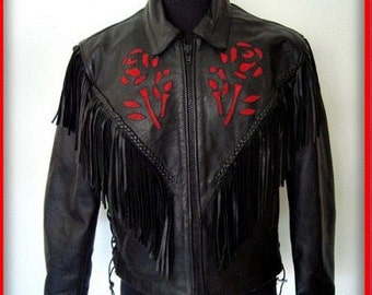 Vintage Hot Leather Motor Cycle Jacket Woman's LX  New Condition, Woman Biker Jacket, Black Fringe