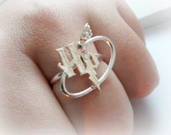 Harry Potter Ring sterling silver - Harry Potter initials and quiddich ball - Golden Snitch - Custom Order for Anna