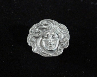 Dramatic Pewter Like Brooch and Pendant all in One -  Female Face with Swirls of Hair