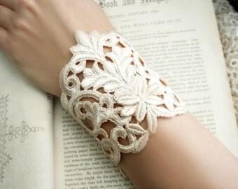 lace bracelet cuff - wedding bracelet lace - DANIELLE- barely blush