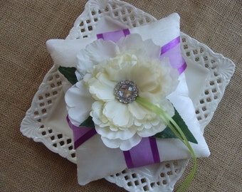 Wedding Ring Bearer Pillow - Ivory Peony on Ivory Crinkled Tafetta