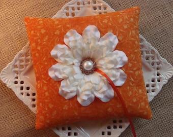 Wedding Ring Bearer Pillow - White Zinnia on Orange
