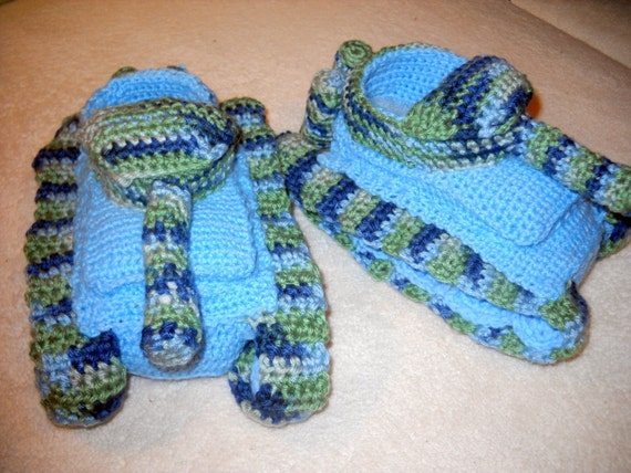 Knitting Pattern For Army Tank Slippers : Military Tank Armored Truck/ Vehicle Slippers by CrochetedinLove
