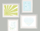 You Are My Sunshine Art Print Set in green and blue for Sprout Baby Bedding, girl and boy colors  11X14 and 8X10, great baby shower gift