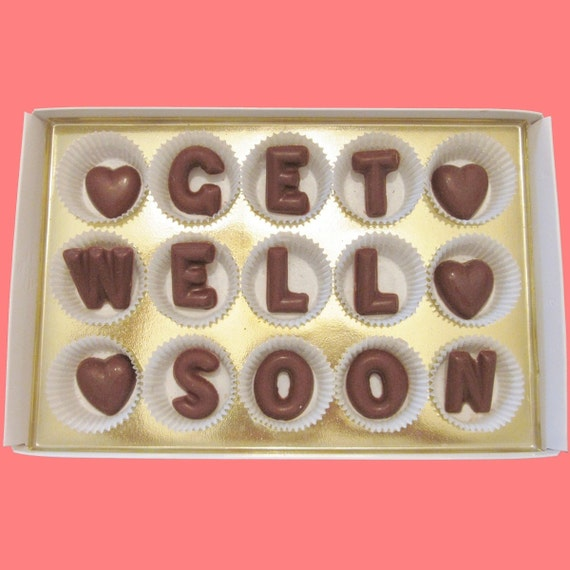 Get Well Soon Large Milk Chocolate Letters Sweet Cute Cool Unique Sympathy Gift for Him Her Man Woman Kid Made to Order by What Candy Says
